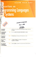 Acm Transactions On Programming Languages And Systems Book PDF