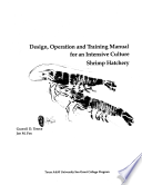 Design, Operation and Training Manual for an Intensive Culture Shrimp Hatchery