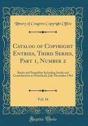 Catalog of Copyright Entries  Third Series  Part 1  Number 2  Vol  16