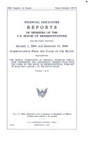Financial Disclosure Reports of Members of the U.S. House of Representatives for the Period Between January 1, 2004 to December 31, 2004