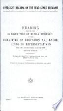 Oversight Hearing On The Head Start Program