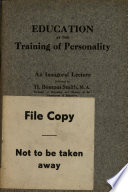 Education as the Training of Personality Book PDF