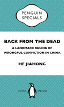 Pdf Back from the Dead: A Landmark Ruling of Wrongful Conviction in China Penguin Specials Telecharger