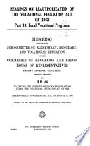 Hearings On Reauthorization Of The Vocational Education Act Of 1963 Book PDF