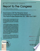 Examination of the Panama Canal Commission s Financial Statements for the Years Ended September 30  1982 and 1981