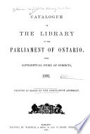 Catalog of the Library of the Parliament of Ontario
