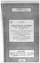 Pdf Catalogue of [printed and Manuscript Music, Books on Music and Musical Instruments] which Will be Sold at Auction