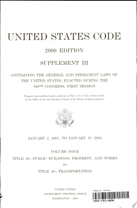 United States Code, 2000, Supplement 3