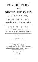 Traduction des oeuvres médicales d'Hippocrates
