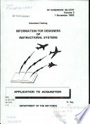 Information for Designers of Instructional Systems  Application to acquisition