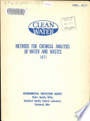 Methods for Chemical Analysis of Water and Wastes