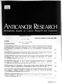 Anticancer Research Book