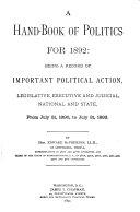 A Handbook of Politics for 1868  to 1894