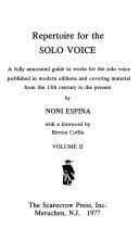 Repertoire for the Solo Voice