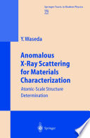 Anomalous X Ray Scattering For Materials Characterization Book PDF