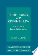 Truth Error And Criminal Law Book PDF