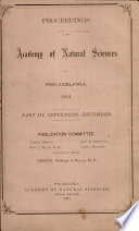Proceedings Of The Academy Of Natural Sciences Part Iii Sept Dec 1891