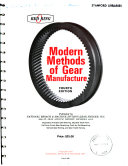 Modern Methods of Gear Manufacture
