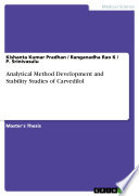 Analytical Method Development and Stability Studies of Carvedilol