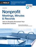 Nonprofit Meetings  Minutes   Records