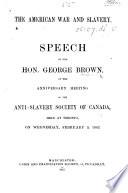 The American War and Slavery  Speech  Etc