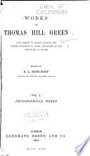Works of Thomas Hill Green: Philosophical works