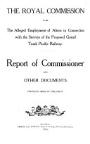 Pdf The Royal Commission in Re the Alleged Employment of Aliens in Connection with the Surveys of the Proposed Grand Trunk Pacific Railway