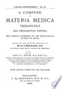 A Compend Of Materia Medica Therapeutics And Prescription Writing With Especial Reference To The Physiological Actions Of Drugs