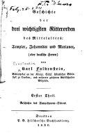 Geschichte Der Drei Wichtigsten Ritterorden Des Mittelalters