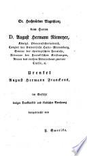 August Hermann Francke : eine Denkschrift zur Säcularfeier seines Todes