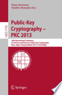 Public Key Cryptography Pkc 2013