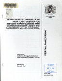 Testing the Effectiveness of an Avian Flight Diverter for Reducing Avian Collisions with Distribution Power Lines in the Sacramento Valley, California