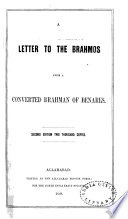 A Letter To The Brahmos From A Converted Brahman Of Benares Nehemiah N Lakantha Goreh