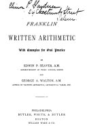 Pdf The Franklin Written Arithmetic, with Examples for Oral Practice