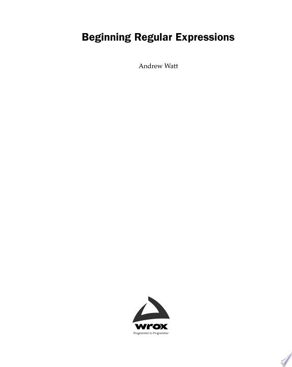 Beginning Regular Expressions
