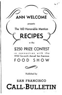 Ann Welcome Presents the 160 Honorable Mention Recipes in the  250 Prize Contest