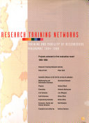Research Training Networks  1995 1996 Book