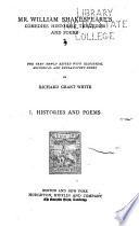 Mr William Shakespeare S Comedies Histories Tragedies And Poems Histories And Poems