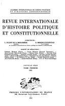 Revue internationale d'histoire politique et constitutionnelle