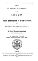 A New Classified Catalogue of the Library of the Royal Institution of Great Britain