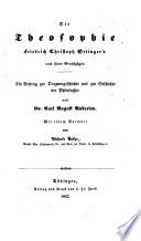 Die Theosophie F. C. Oetinger's nach ihren Grundzügen
