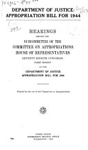 Department of Justice Appropriation Bill for 1944