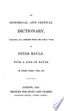 An Historical and Critical Dictionary  selected and abridged     With a life of Bayle   With a portrait   Book PDF