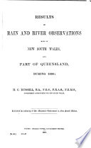 Results of Rain  River  and Evaporation Observations Made in New South Wales