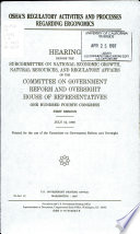 OSHA s Regulatory Activities and Processes Regarding Ergonomics