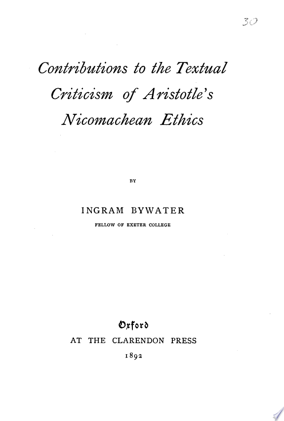 Contributions to the Textual Criticism of Aristotle s Nicomachean Ethics