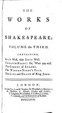 The Works of Shakespeare  in Eight Volumes
