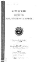 Laws Of Ohio Relative To Probation Pardon And Parole