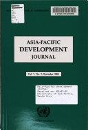Asia Pacific Development Journal Book