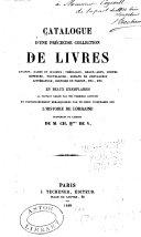 Catalogue d'une précieuse collection de livres ...
